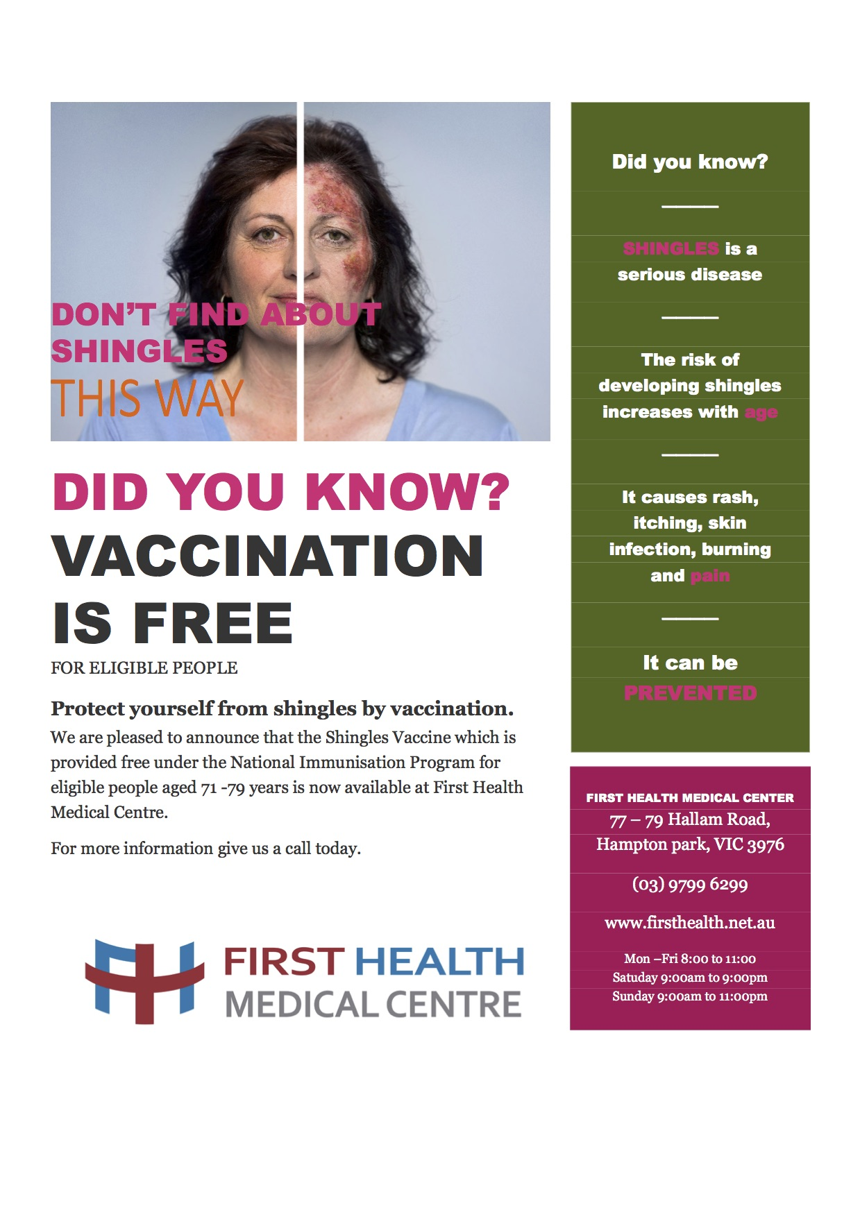 Shingles - First Health Medical Centre